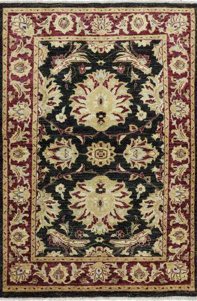 Black Peshawar Hand Knotted Rug 4 X 6 - Golden Nile