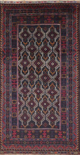 Tribal Baluch Afghan Wool Area Rug 5 X 9 - Golden Nile