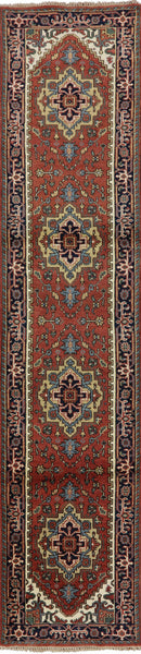 Hand Knotted Heriz Runner Serapi Area Rug 3 X 12 - Golden Nile