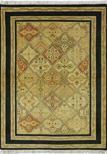 5 X 7 Hand Knotted Peshawar Rug - Golden Nile