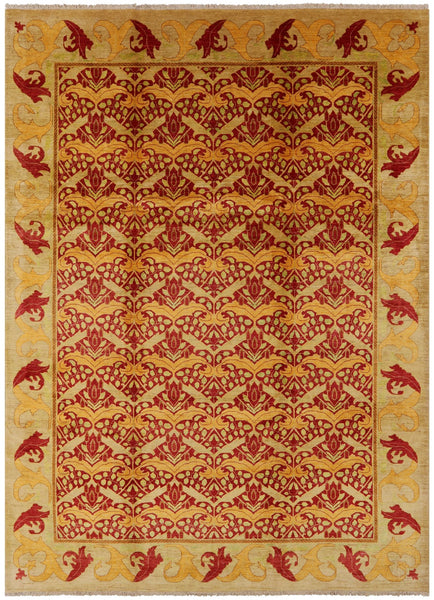 "William Morris Hand Knotted Area Rug - 10' X 13' 8"" - Golden Nile"