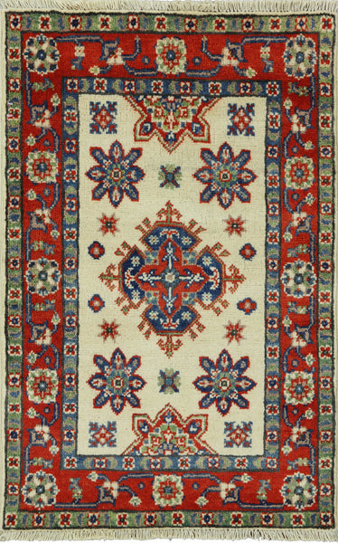 Hand Knotted 2 X 3 Super Kazak Area Rug - Golden Nile