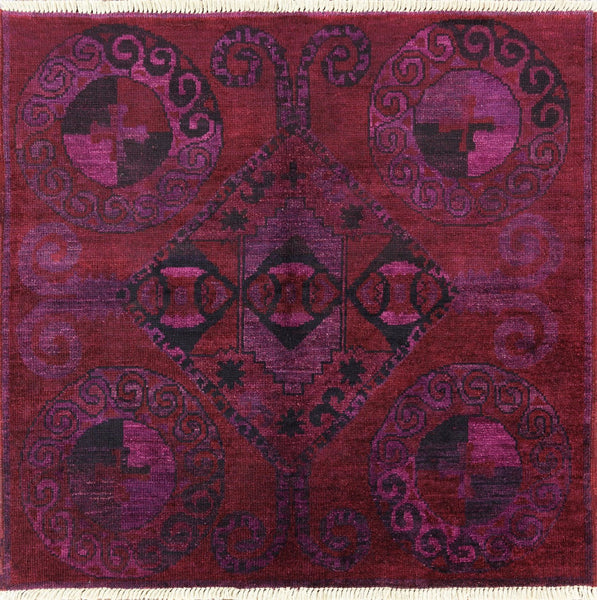 Square Kaitag Overdyed Rug 5 X 5 - Golden Nile