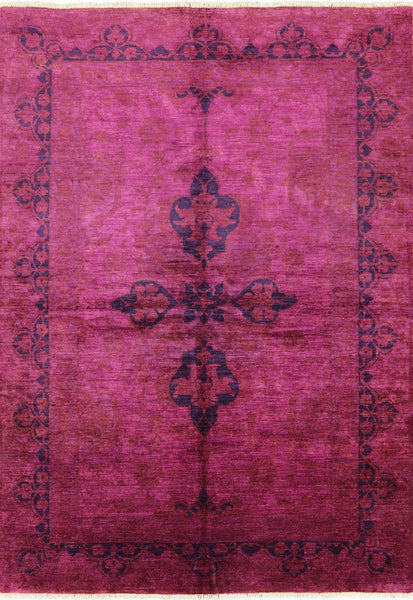 6 X 9 Full Pile Wool Pink Overdyed Handmade Rug - Golden Nile
