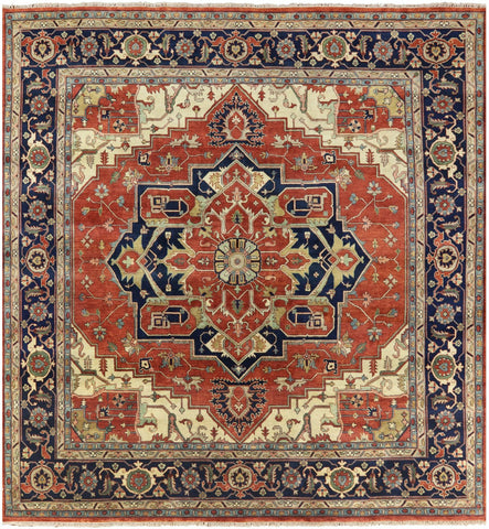 12' Square Hand Knotted Wool Heriz Serapi Rug