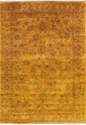 Overdyed Hand Knotted Full Pile Wool Area Rug - 6' 9