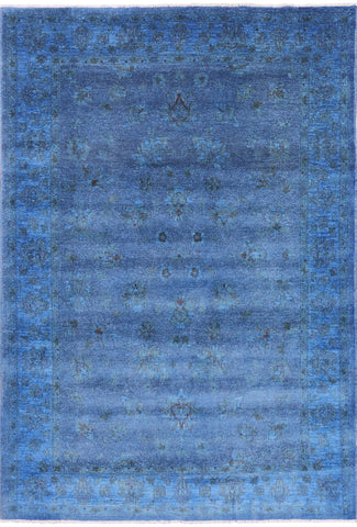 Overdyed Hand Knotted Full Pile Wool Area Rug - 6' 7