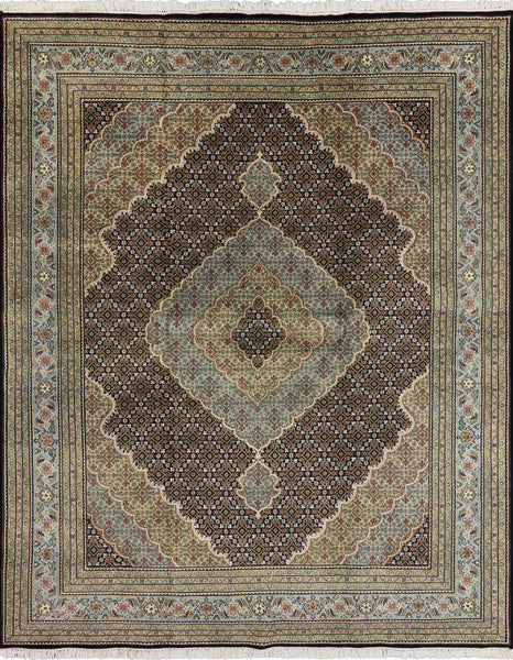 Multi-color 8 X 10 Wool & Silk Tabriz Rug - Golden Nile
