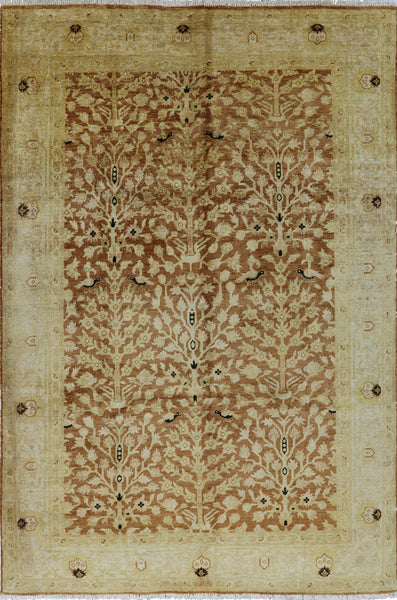 6 X 9 Peshawar Tree Of Life Hand Knotted Wool Rug - Golden Nile