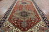 Serapi Medallion Rust/Navy Heriz Wool Rug 9 X 18 - Golden Nile