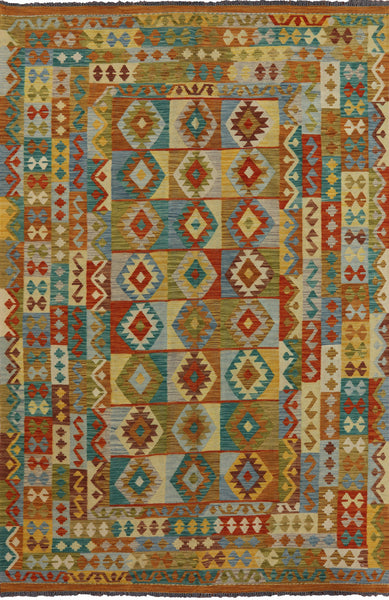 Wool on Wool Tribal Kilim Oriental Rug 7 X 10 - Golden Nile