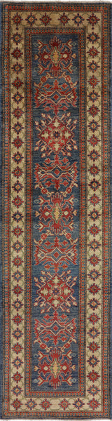 3 X 10 Runner Super Kazak Hand Knotted Rug - Golden Nile