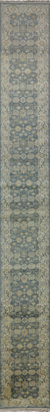 Oriental Faded Blue Oushak Runner 2 X 20 - Golden Nile