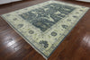 Traditional Blue Oushak Rug 10 X 14 - Golden Nile