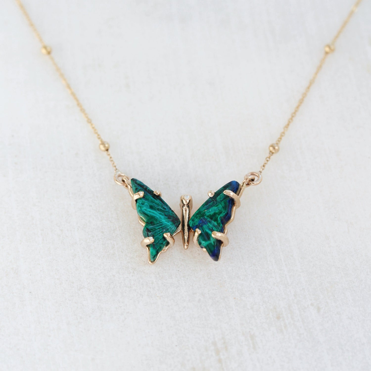 Azurite Gold Butterfly Necklace