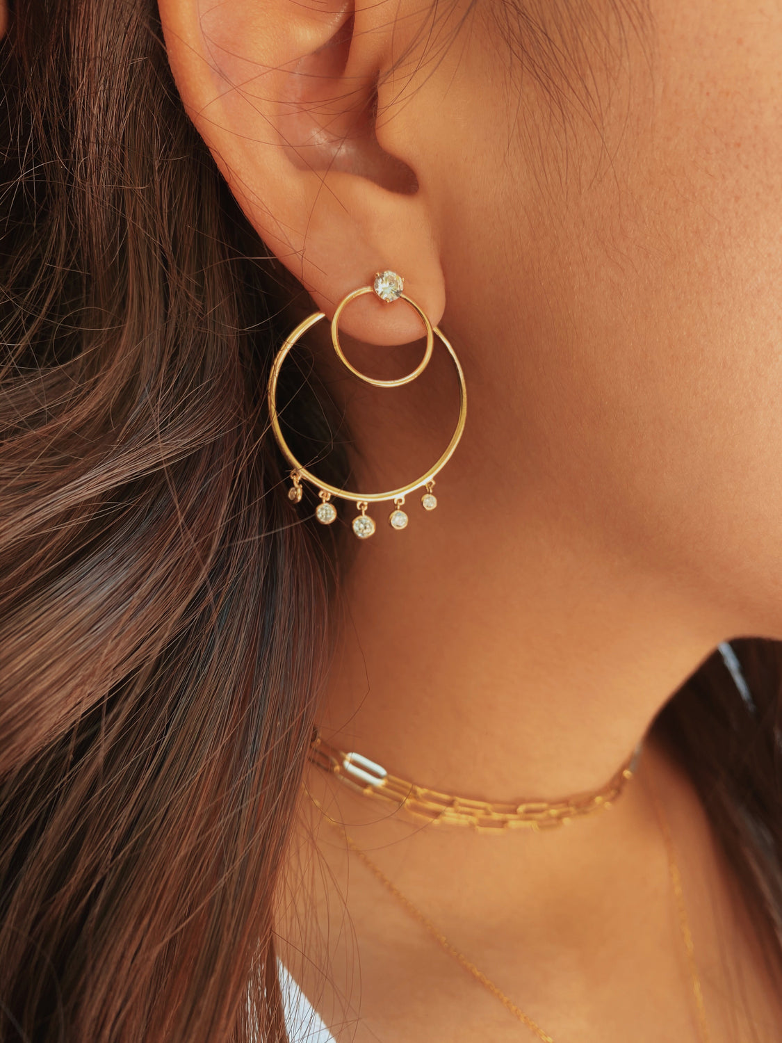 Gold Dangle Versatile Hoops