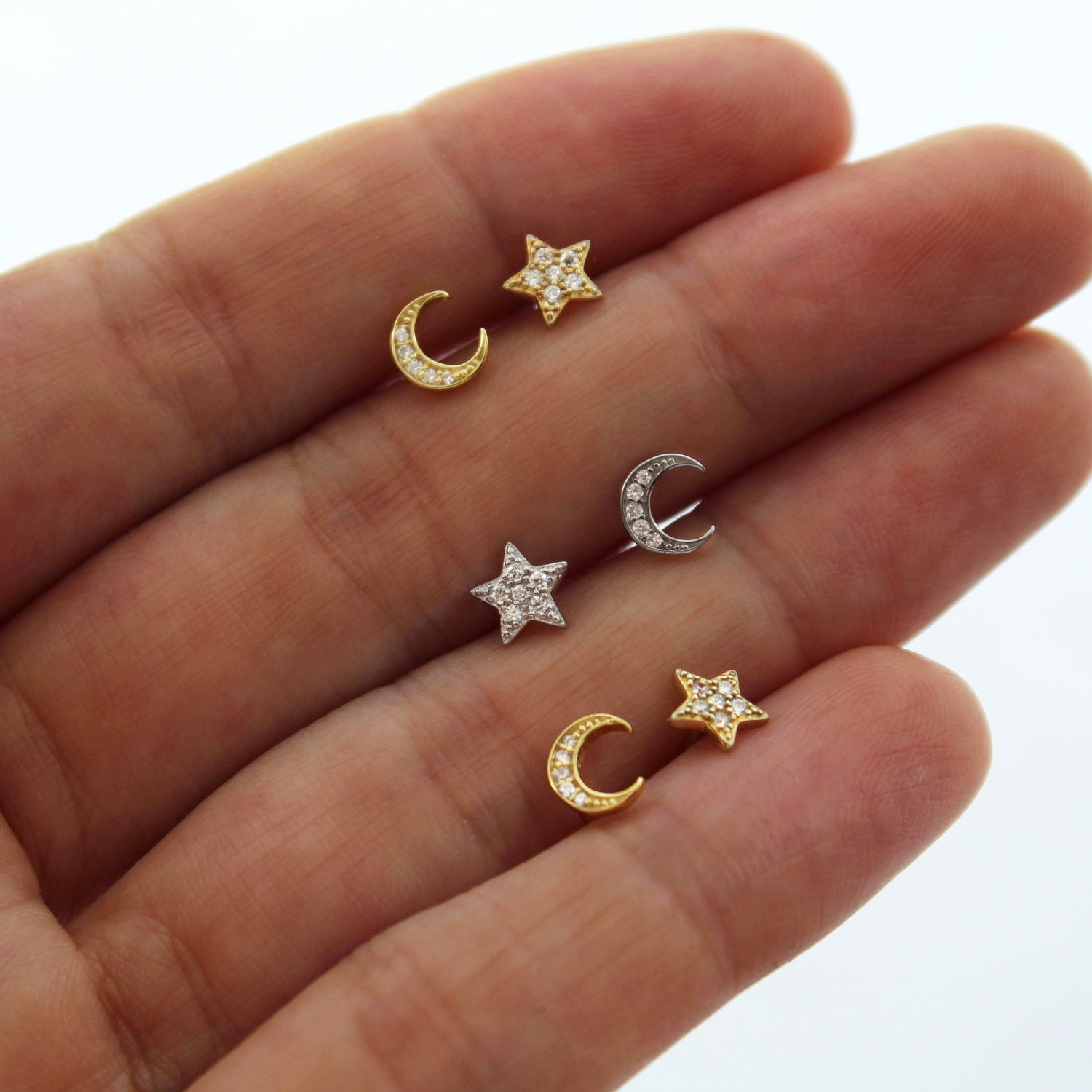 Crystal Encrusted Star & Moon Studs