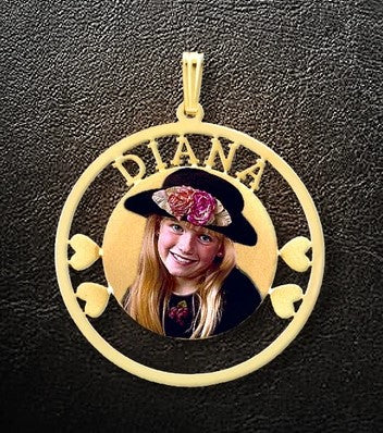 Small 1 Name Circle & Heart Photo Pendant