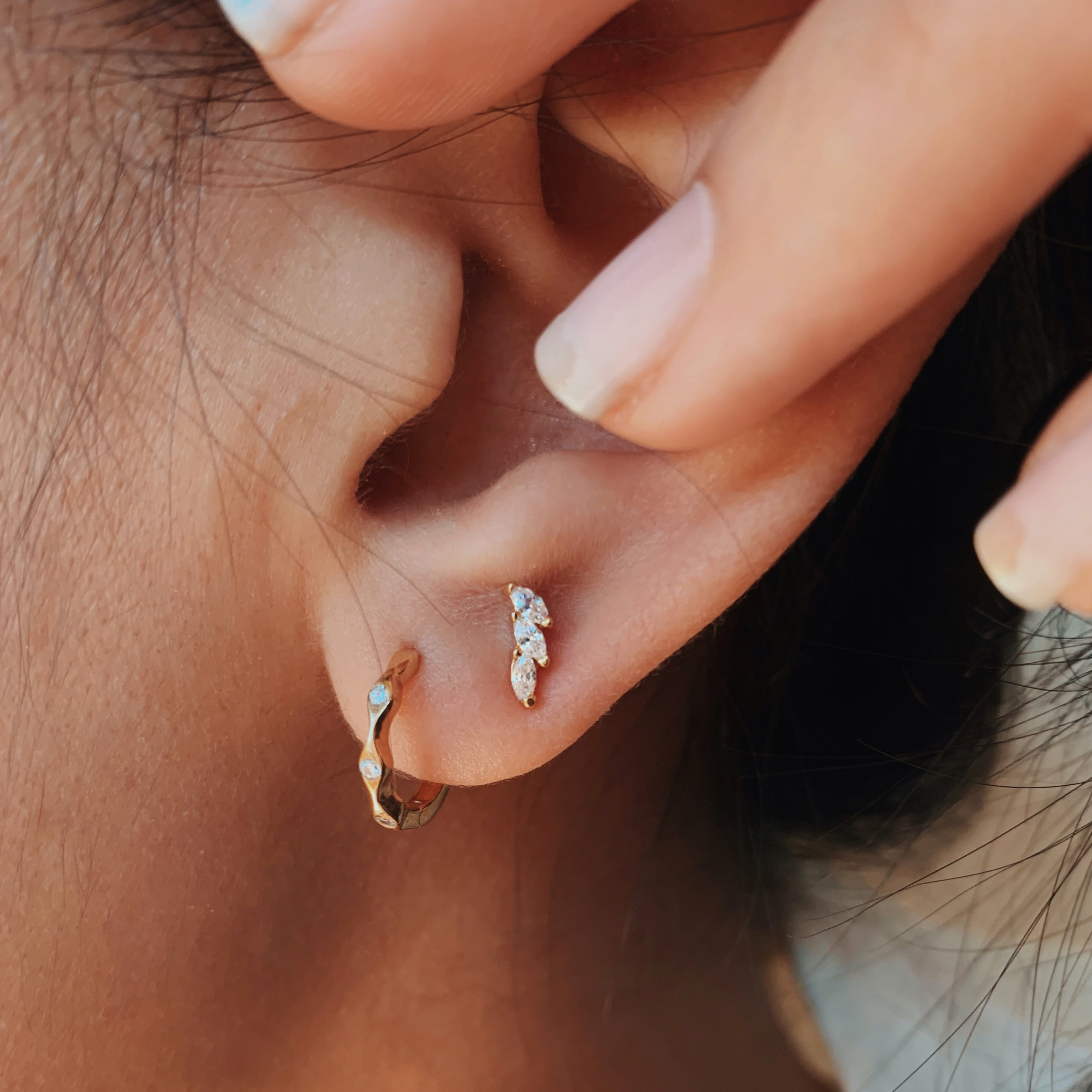 Stacked Marquise Studs