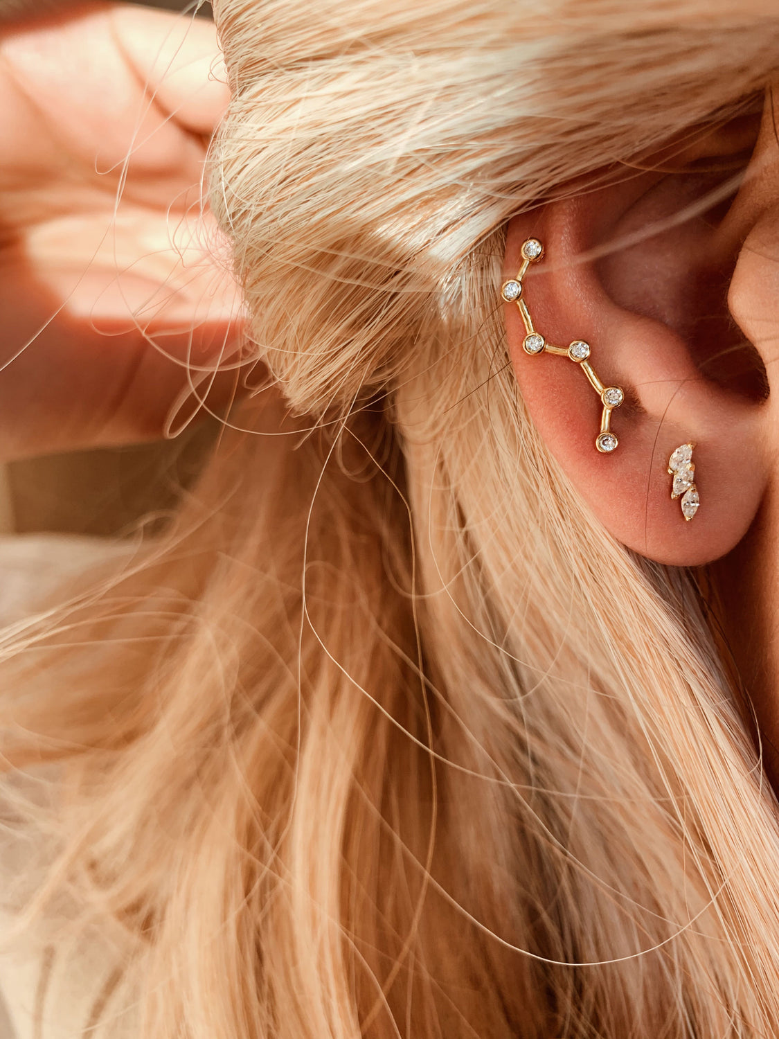 Big Dipper Crystal Climber Earrings