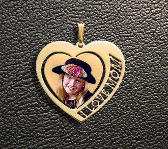 1 Name Heart Photo Pendant