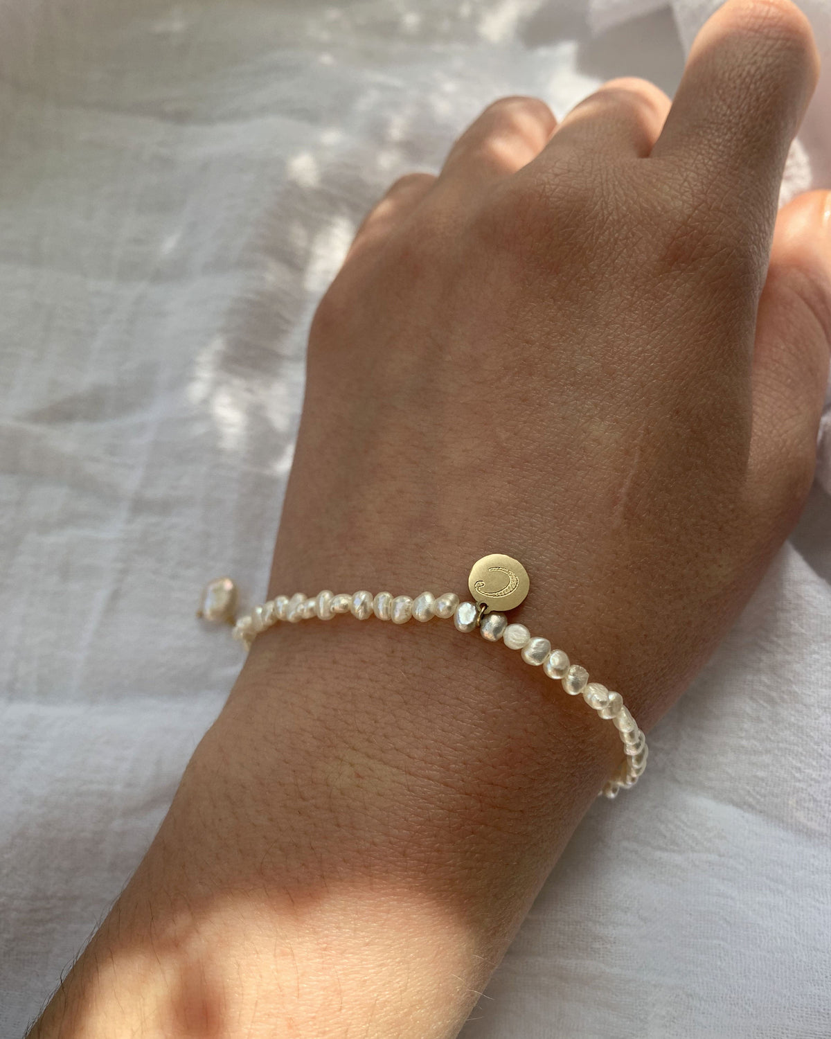 14k Gold Pearl Bracelet with Engravable Coin