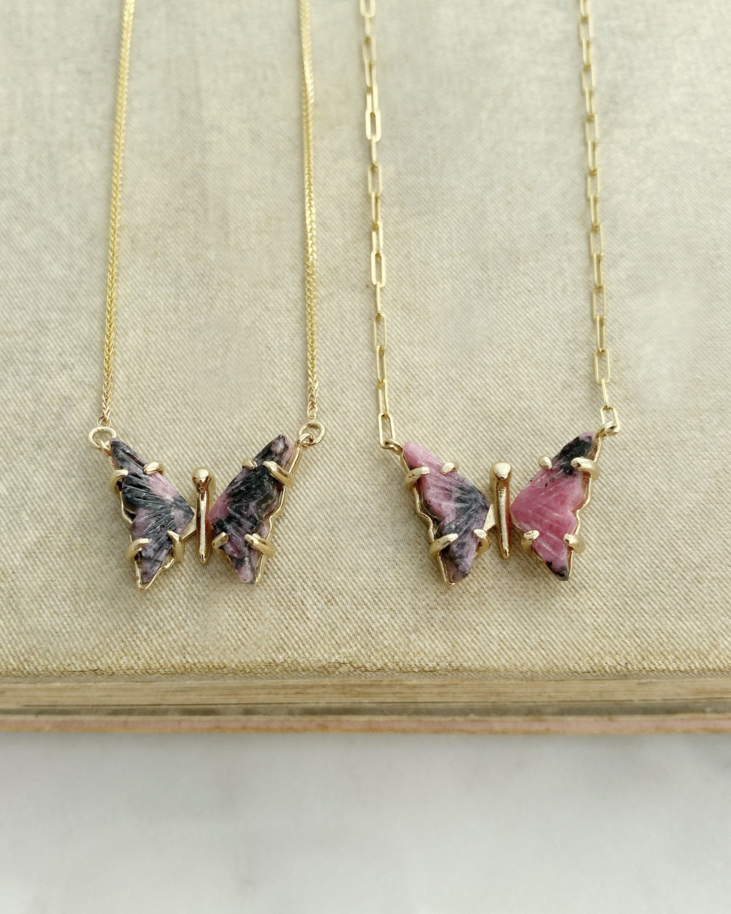 Rhodonite Butterfly Necklace