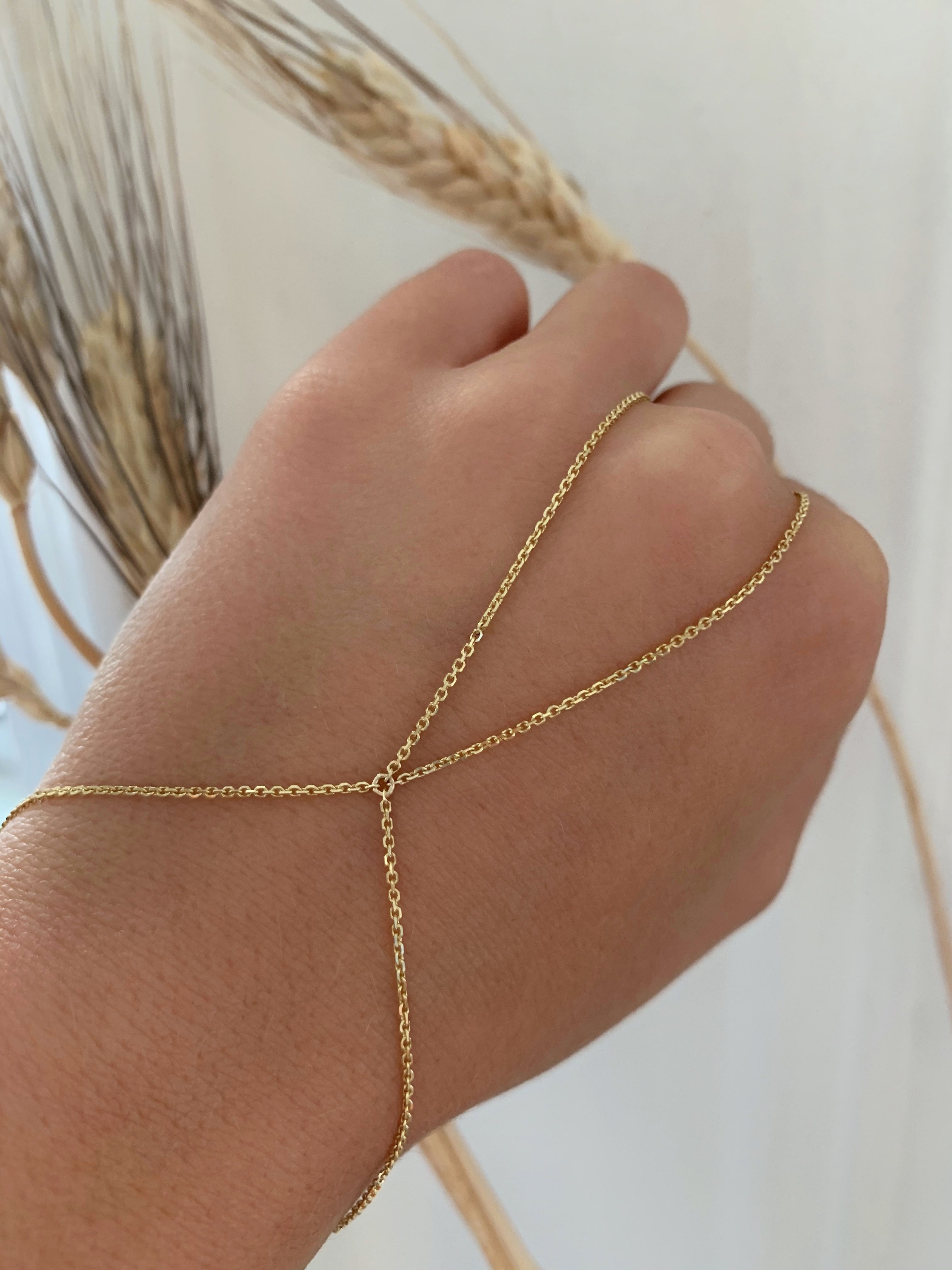 14k Solid Gold Hand Chain