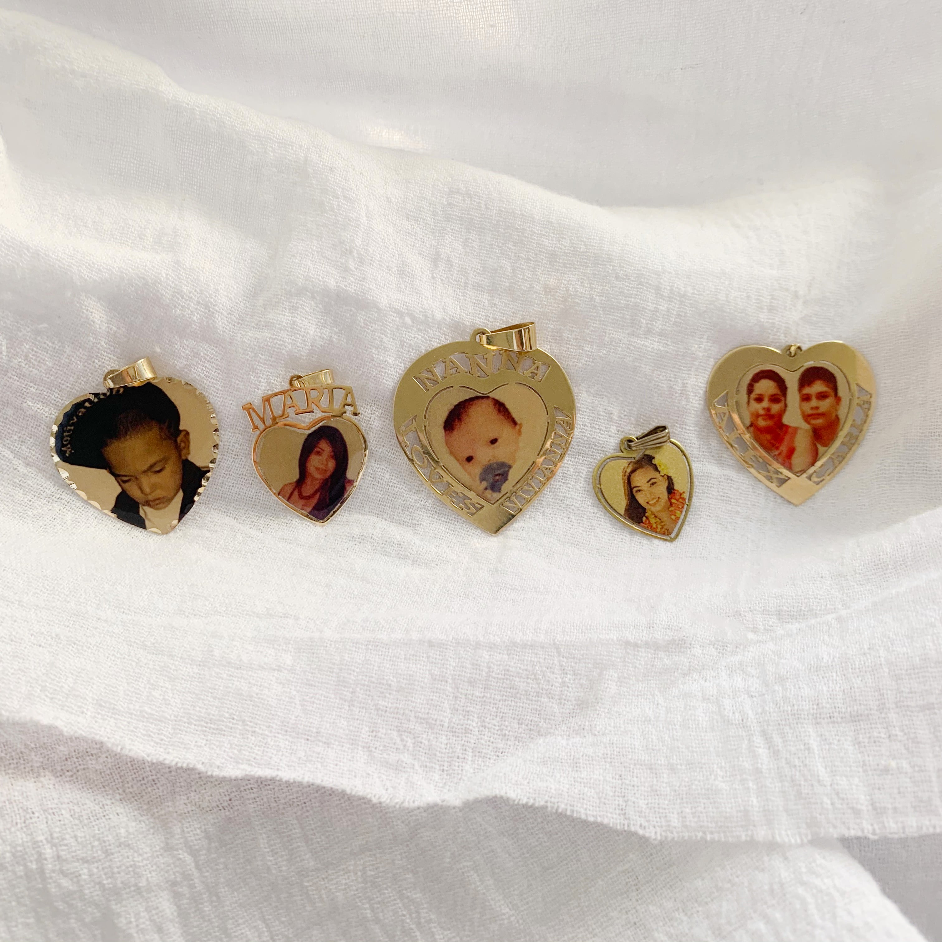 Cut Out Name Heart Photo Pendant