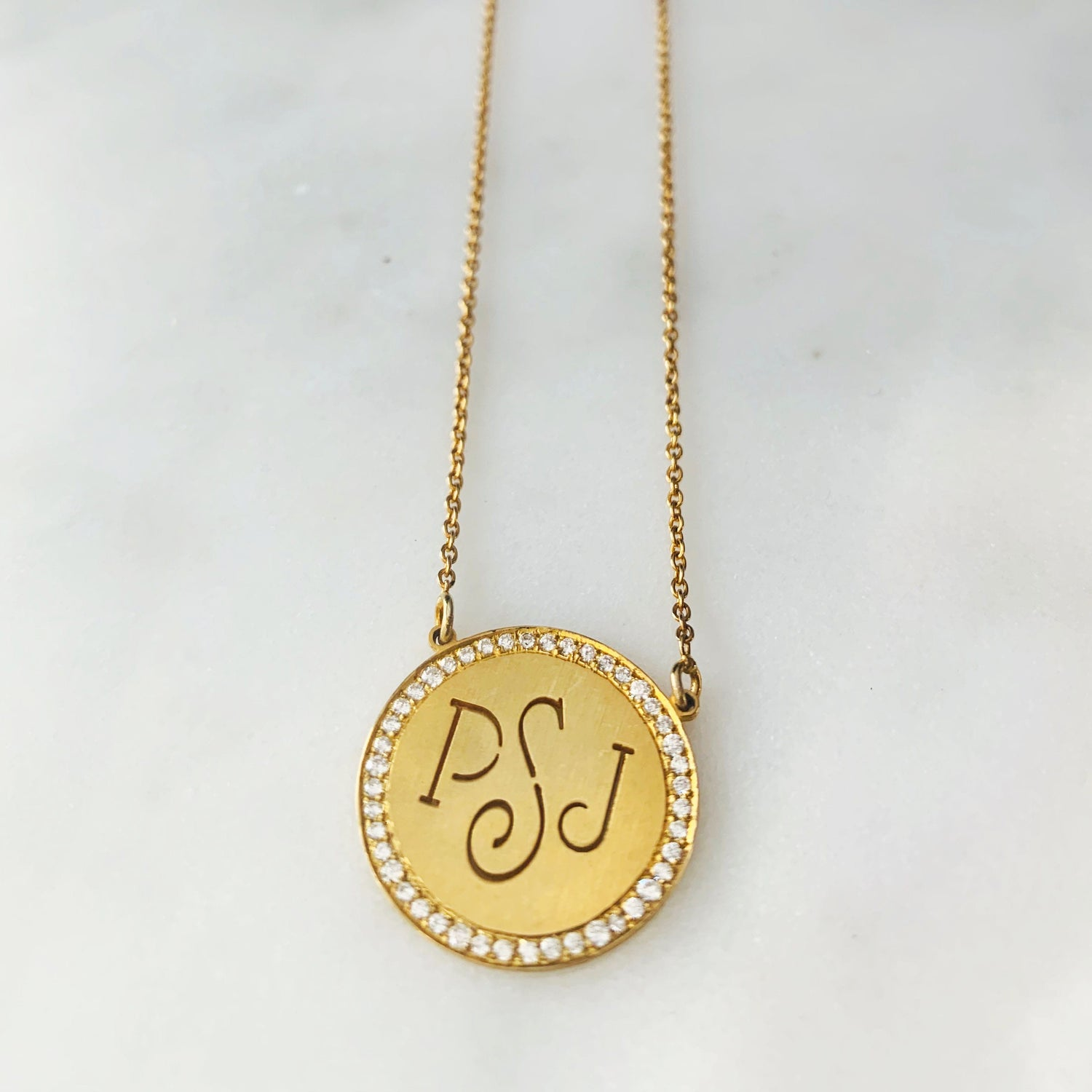 Diamond Medallion Monogram Necklace