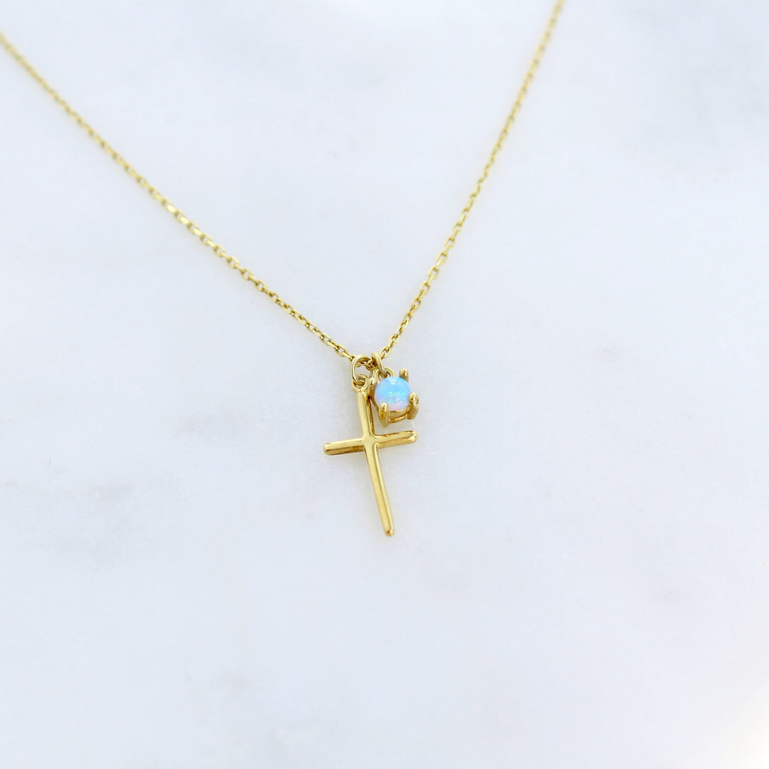 Cross and Opal Necklace