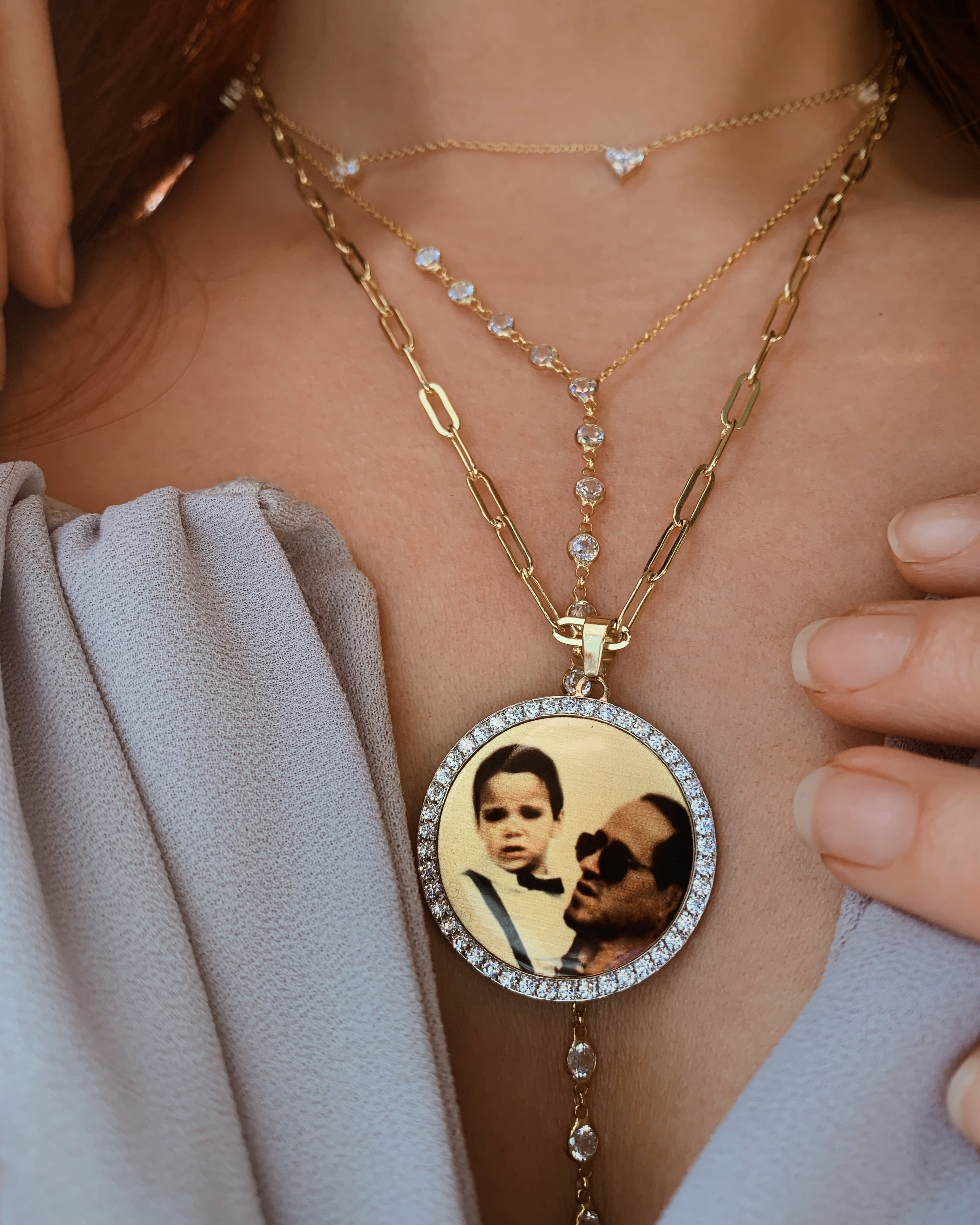 Diamond & Gold Photo Pendant Medallion