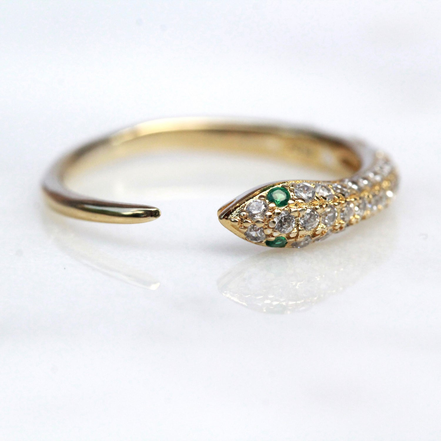 Emerald Eye Snake Ring