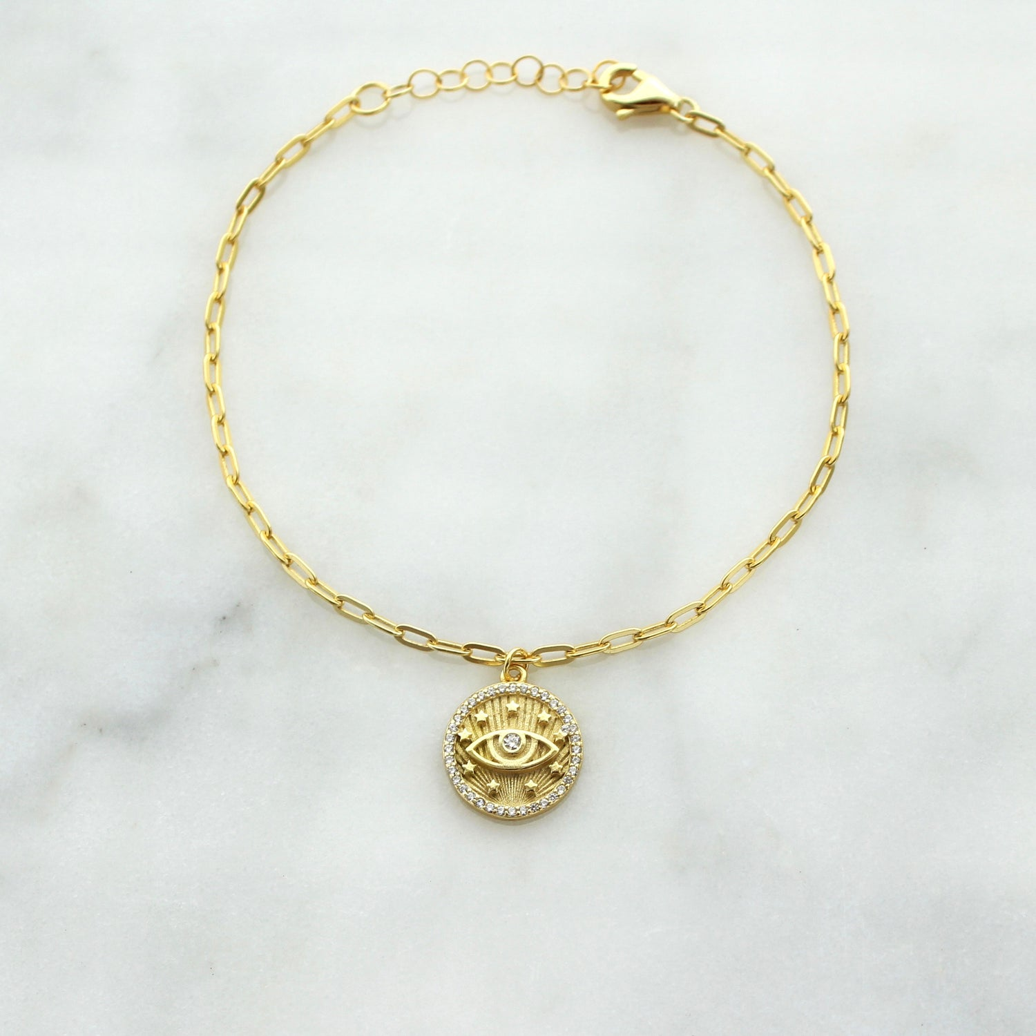 Evil Eye Medallion Charm Bracelet