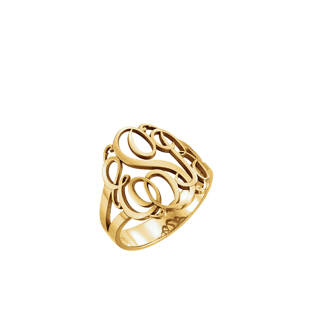 Kimiya Jewelers 3 Letter Script Monogram Ring