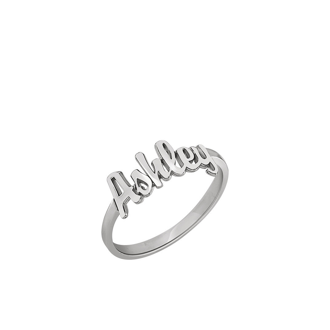 Kimiya Jewelers Sterling Silver Gold Plated Script Nameplate Ring