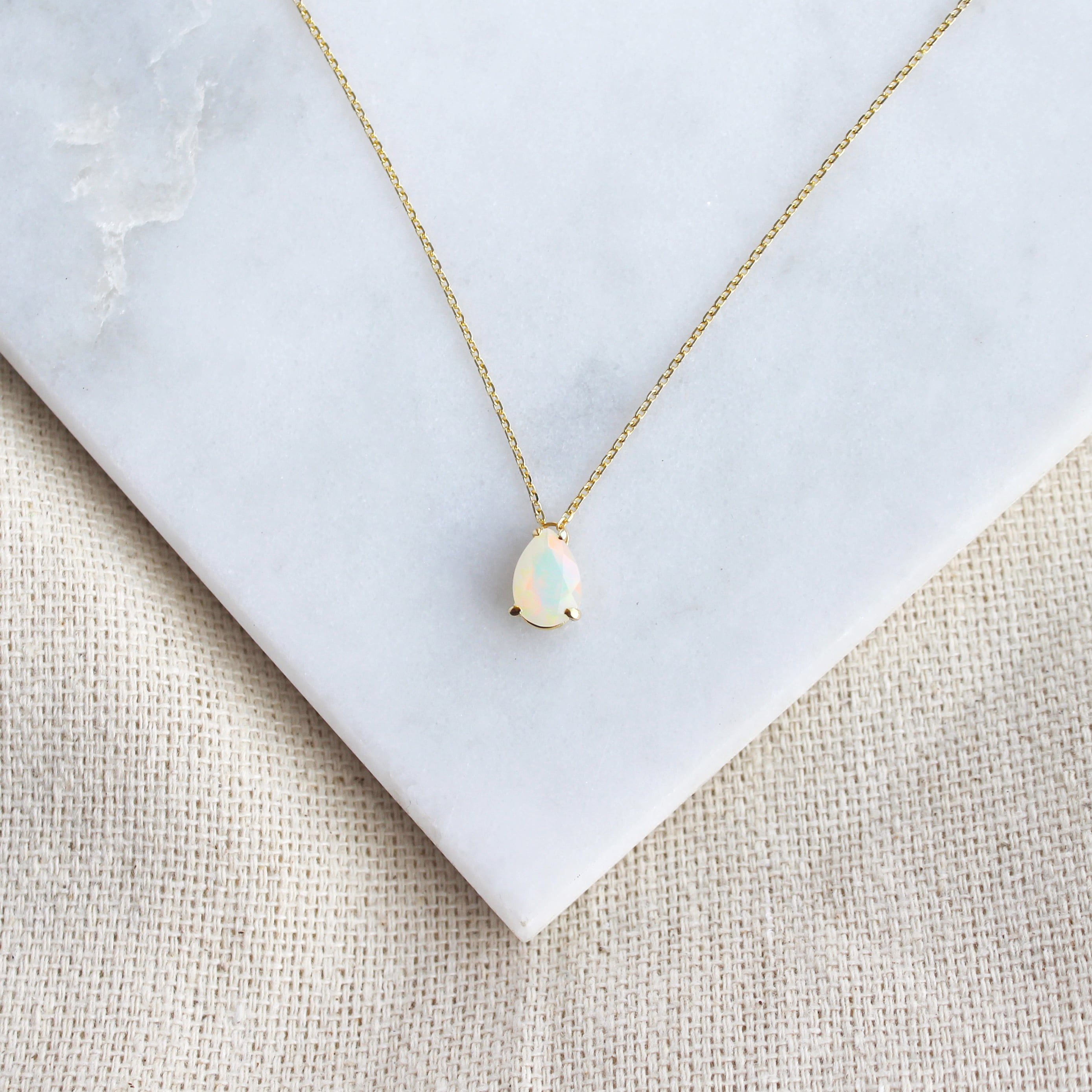 Solitaire Pear Opal Necklace