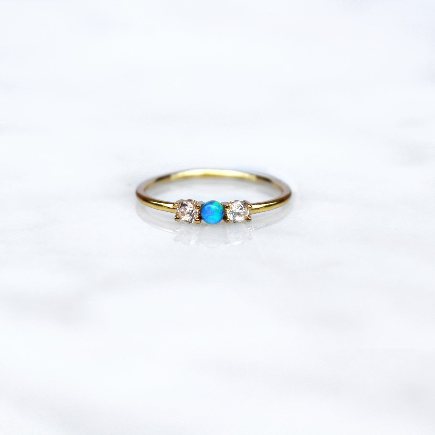 Blue Opal Past Present Future Ring