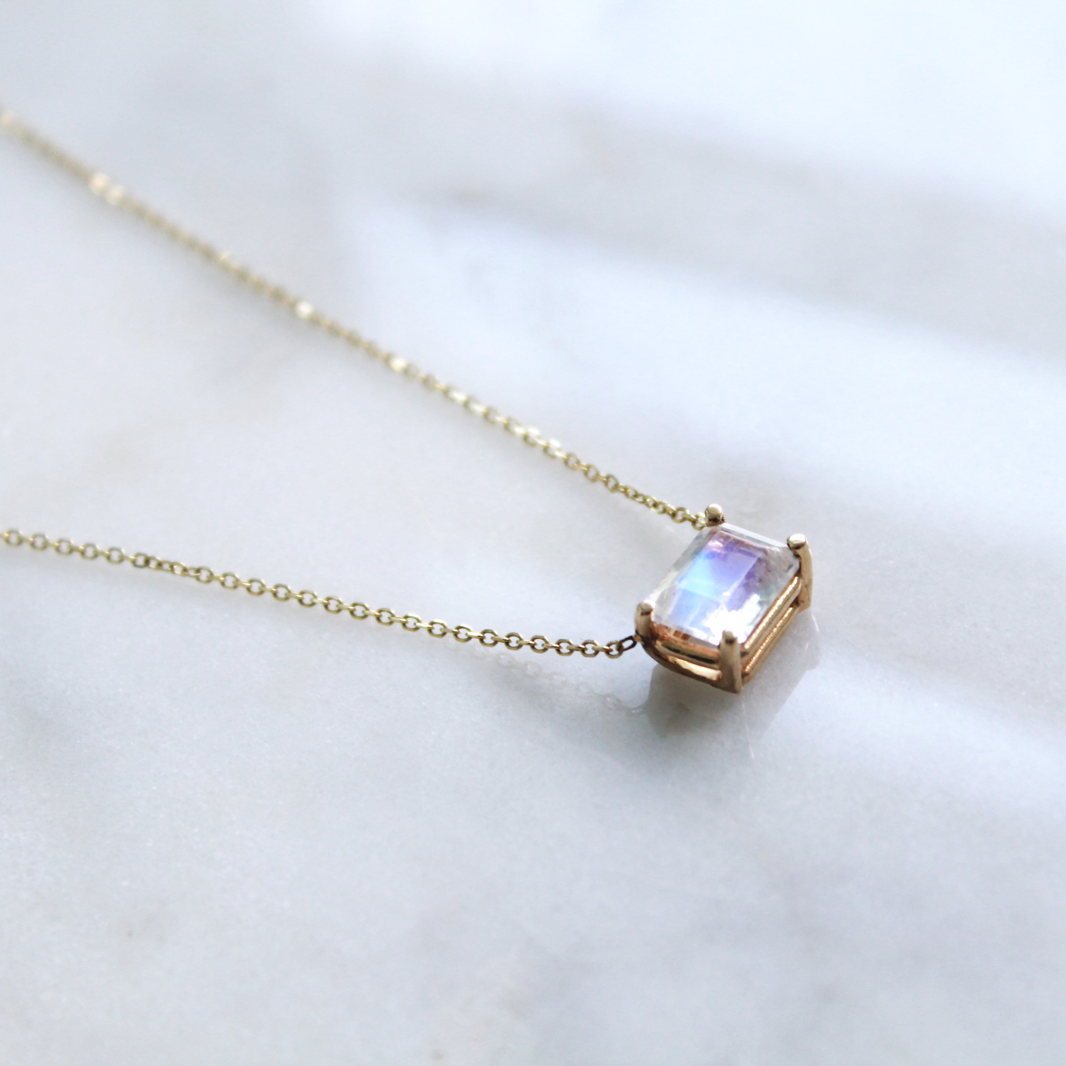 Solitaire Moonstone Necklace