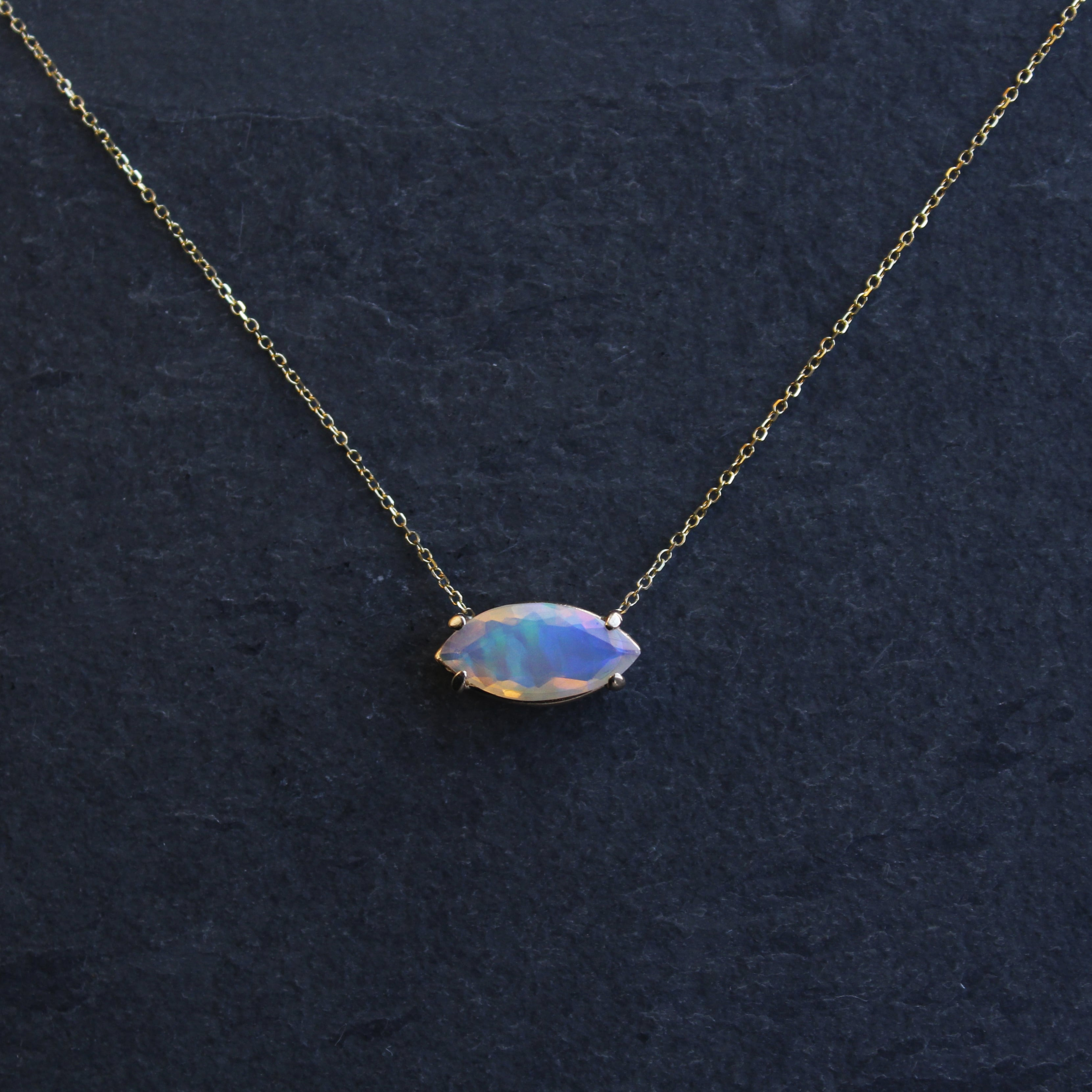 Solitaire Marquise Opal Necklace