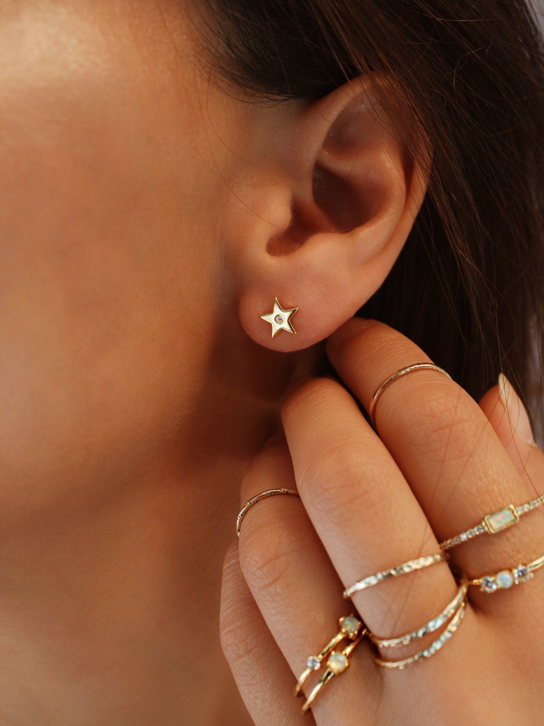 Crystal Accent Star & Moon Studs