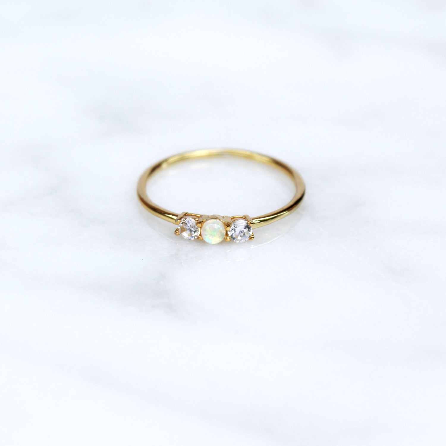 White Opal Past Present Future Ring