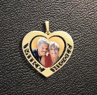 2 Name Heart Photo Pendant
