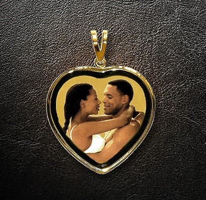 Black Framed Heart Photo Pendant