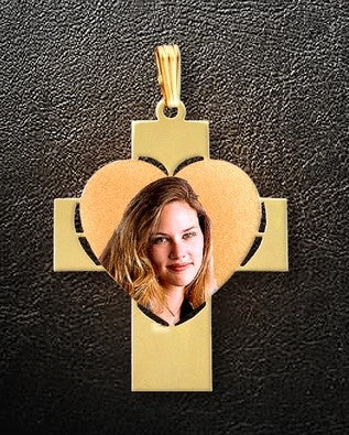 Cross & Heart Photo Pendant
