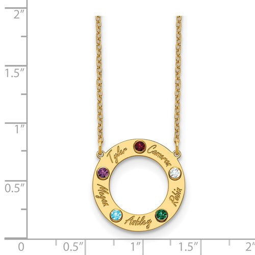 Circle Necklace with Birthstones