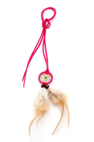 Dreamcatcher Necklace Bright Pink