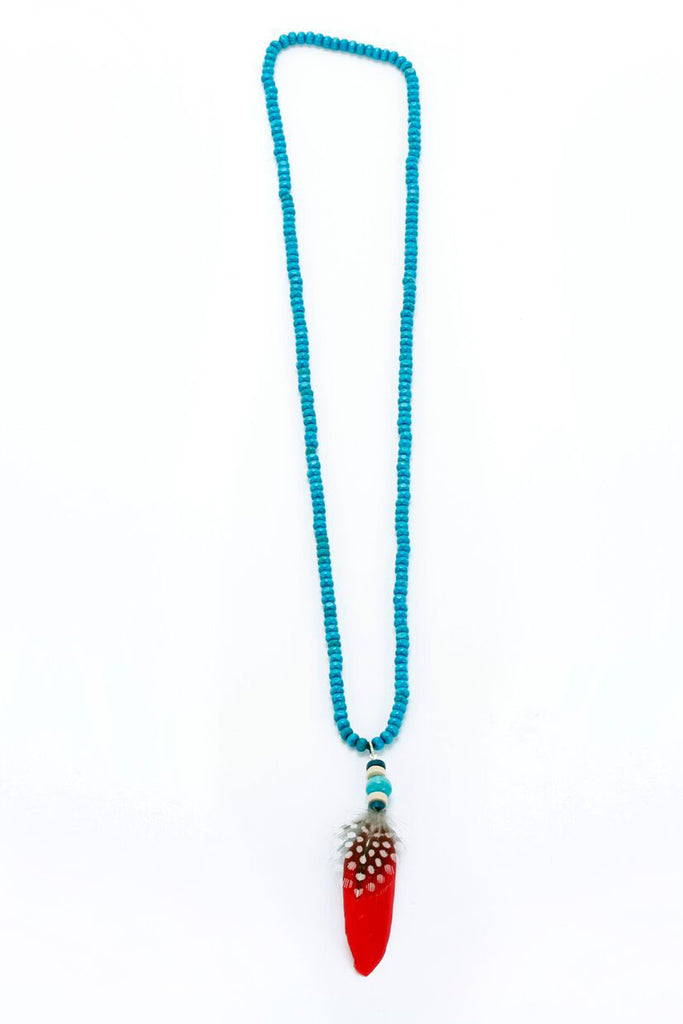 Feather Necklace Turquoise