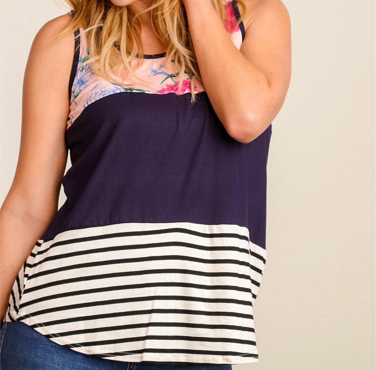 Navy blue and floral color block tank top