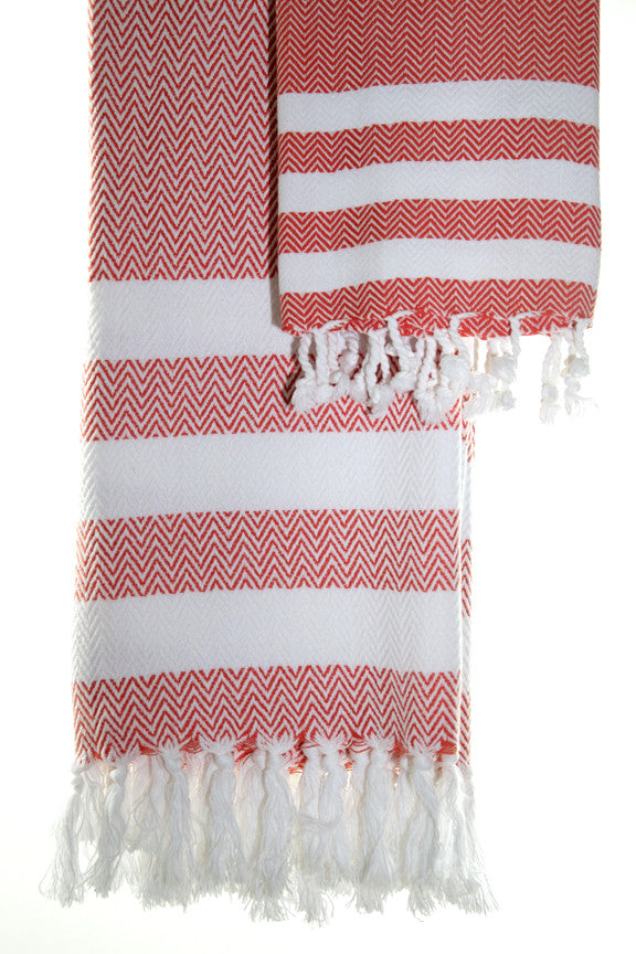 Wevist Briza Pestemel in Coral, Hand Woven, 100% Organic Cotton